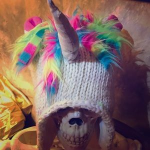 Claire's Rainbow Unicorn Fleece Lined Hat